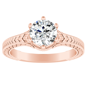 REAGAN Vintage Style Solitaire Diamond Engagement Ring In 14K Rose Gold