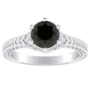 REAGAN Solitaire Black Diamond Engagement Ring In 14K White Gold With 0.50 Carat Round Diamond