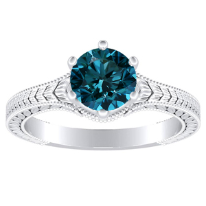 REAGAN  Solitaire  Blue  Diamond  Engagement  Ring  In  14K  White  Gold  With  0.50  Carat  Round  Diamond