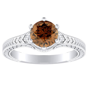 REAGAN Solitaire Brown Diamond Engagement Ring In 14K White Gold With 0.30 Carat Round Diamond