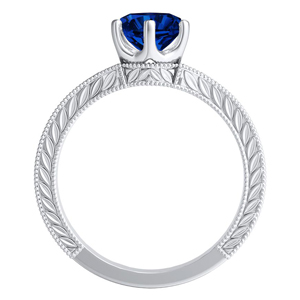 REAGAN  Solitaire  Blue  Sapphire  Wedding  Ring  Set  In  14K  White  Gold  With  0.50  Carat  Round  Stone