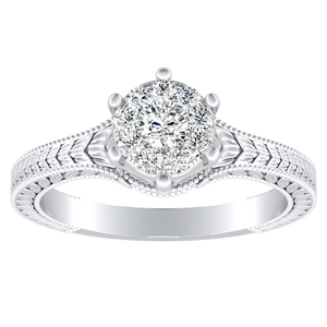 REAGAN Vintage Style Solitaire Diamond Engagement Ring In 14K White Gold With Round Diamond In H-I SI1-SI2 Quality
