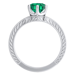 REAGAN  Solitaire  Green  Emerald  Engagement  Ring  In  14K  White  Gold  With  0.50  Carat  Round  Stone