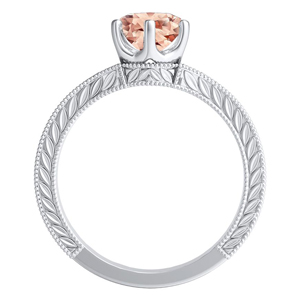 REAGAN  Solitaire  Morganite  Wedding  Ring  Set  In  14K  White  Gold  With  1.00  Carat  Round  Stone