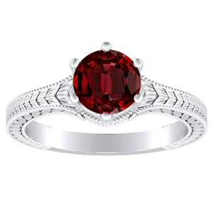 REAGAN Solitaire Ruby Engagement Ring In 14K White Gold With 0.50 Carat Round Stone