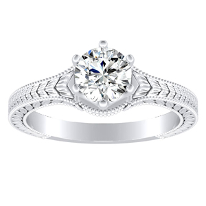 REAGAN Vintage Style Solitaire Diamond Engagement Ring In 14K White Gold With 0.50ct. Round Diamond