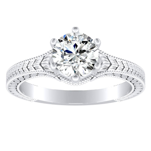REAGAN Vintage Style Solitaire Diamond Engagement Ring In 14K White Gold