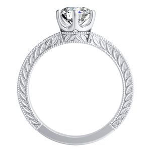 REAGAN  Solitaire  Moissanite  Wedding  Ring  Set  In  14K  White  Gold  With  0.50  Carat  Round  Stone