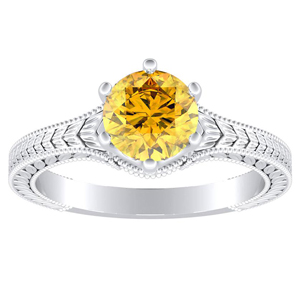 REAGAN Solitaire Yellow Diamond Engagement Ring In 14K White Gold With 0.30 Carat Round Diamond