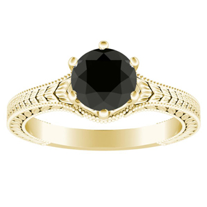 REAGAN  Solitaire  Black  Diamond  Engagement  Ring  In  14K  Yellow  Gold  With  1.00  Carat  Round  Diamond