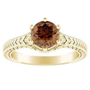 REAGAN  Solitaire  Brown  Diamond  Engagement  Ring  In  14K  Yellow  Gold  With  0.50  Carat  Round  Diamond
