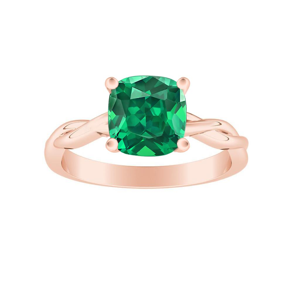 ELISE Twisted Solitaire Green Emerald Engagement Ring In 14K Rose Gold With 0.50 Carat Cushion Stone