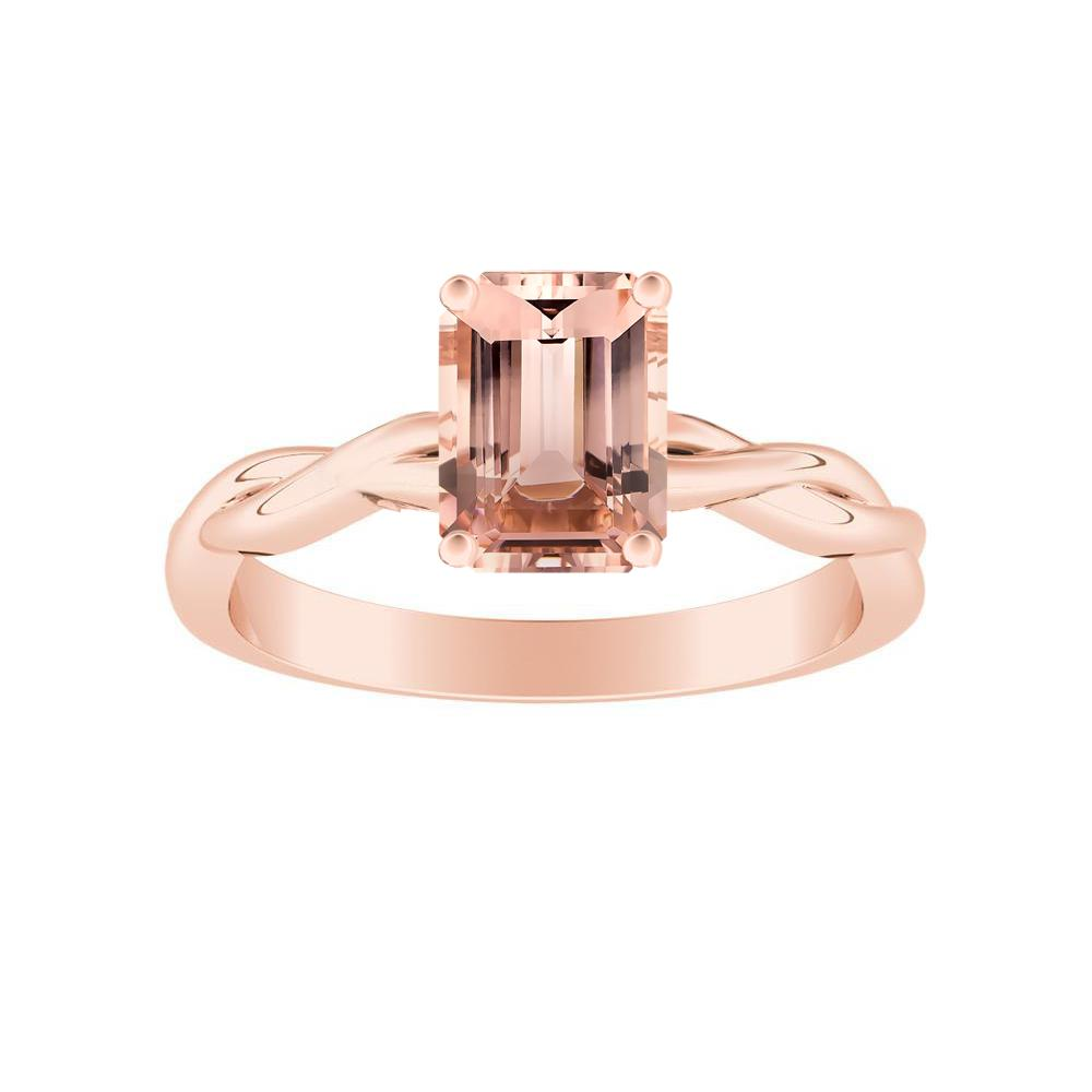ELISE Twisted Solitaire Morganite Engagement Ring In 14K Rose Gold With 1.00 Carat Emerald Stone