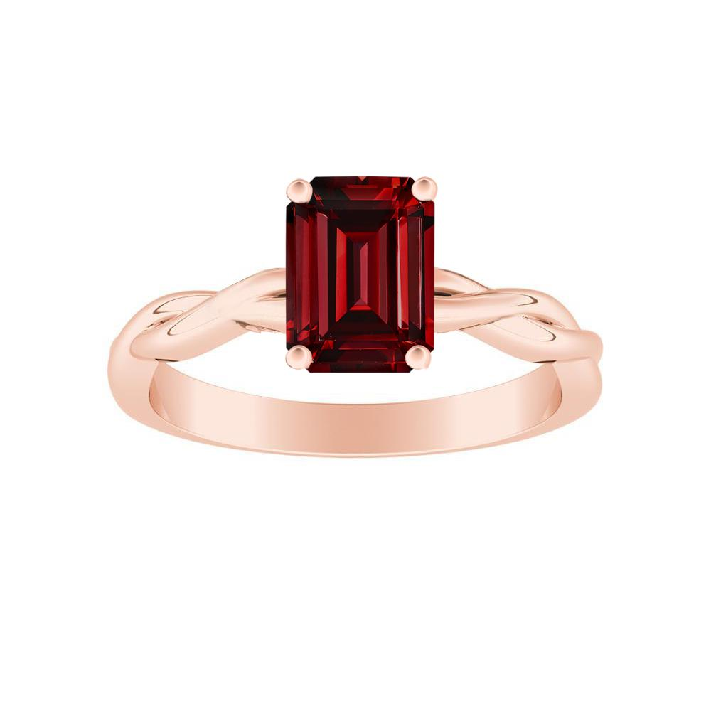 ELISE Twisted Solitaire Ruby Engagement Ring In 14K Rose Gold With 0.50 Carat Emerald Stone