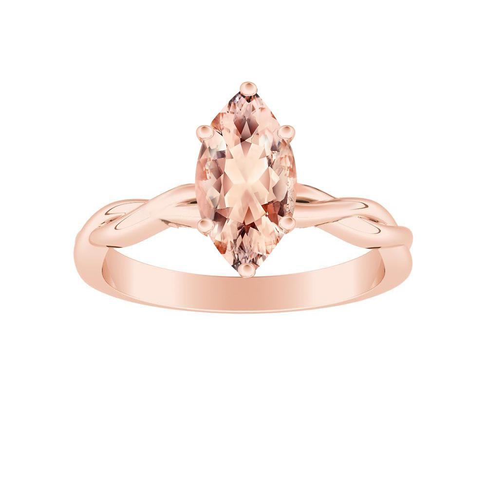 ELISE Twisted Solitaire Morganite Engagement Ring In 14K Rose Gold With 1.00 Carat Marquise Stone