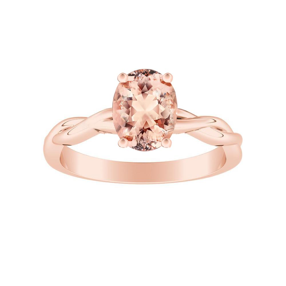 ELISE Twisted Solitaire Morganite Engagement Ring In 14K Rose Gold With 1.00 Carat Oval Stone