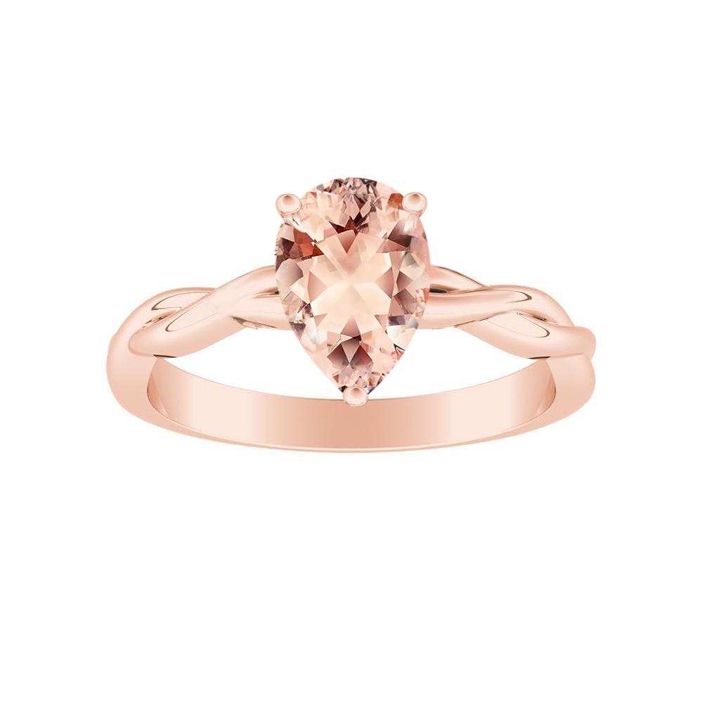 ELISE Twisted Solitaire Morganite Engagement Ring In 14K Rose Gold With 1.00 Carat Pear Stone