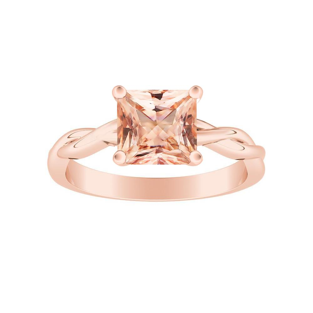ELISE Twisted Solitaire Morganite Engagement Ring In 14K Rose Gold With 1.00 Carat Princess Stone