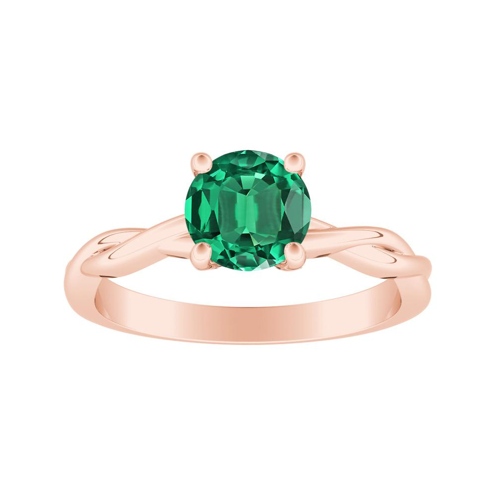 ELISE Twisted Solitaire Green Emerald Engagement Ring In 14K Rose Gold With 0.50 Carat Round Stone