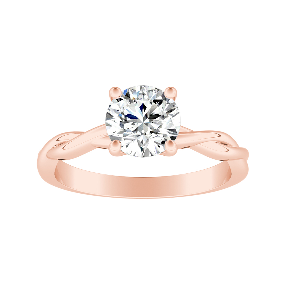 ELISE Twisted Solitaire Moissanite Engagement Ring In 14K Rose Gold With 0.50 Carat Round Stone