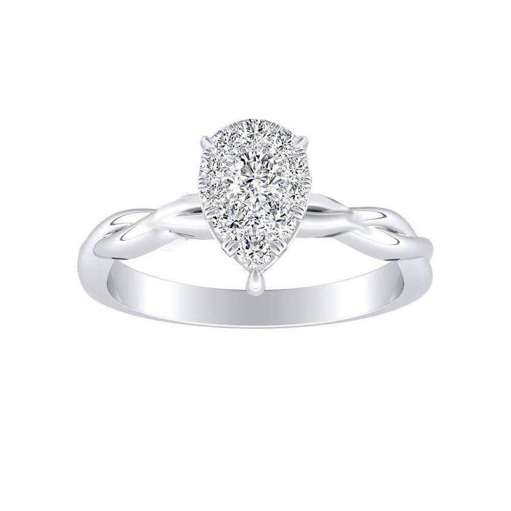 ELISE Twisted Solitaire Diamond Engagement Ring  In 14K White Gold With Pear Diamond In H-I SI1-SI2 Quality