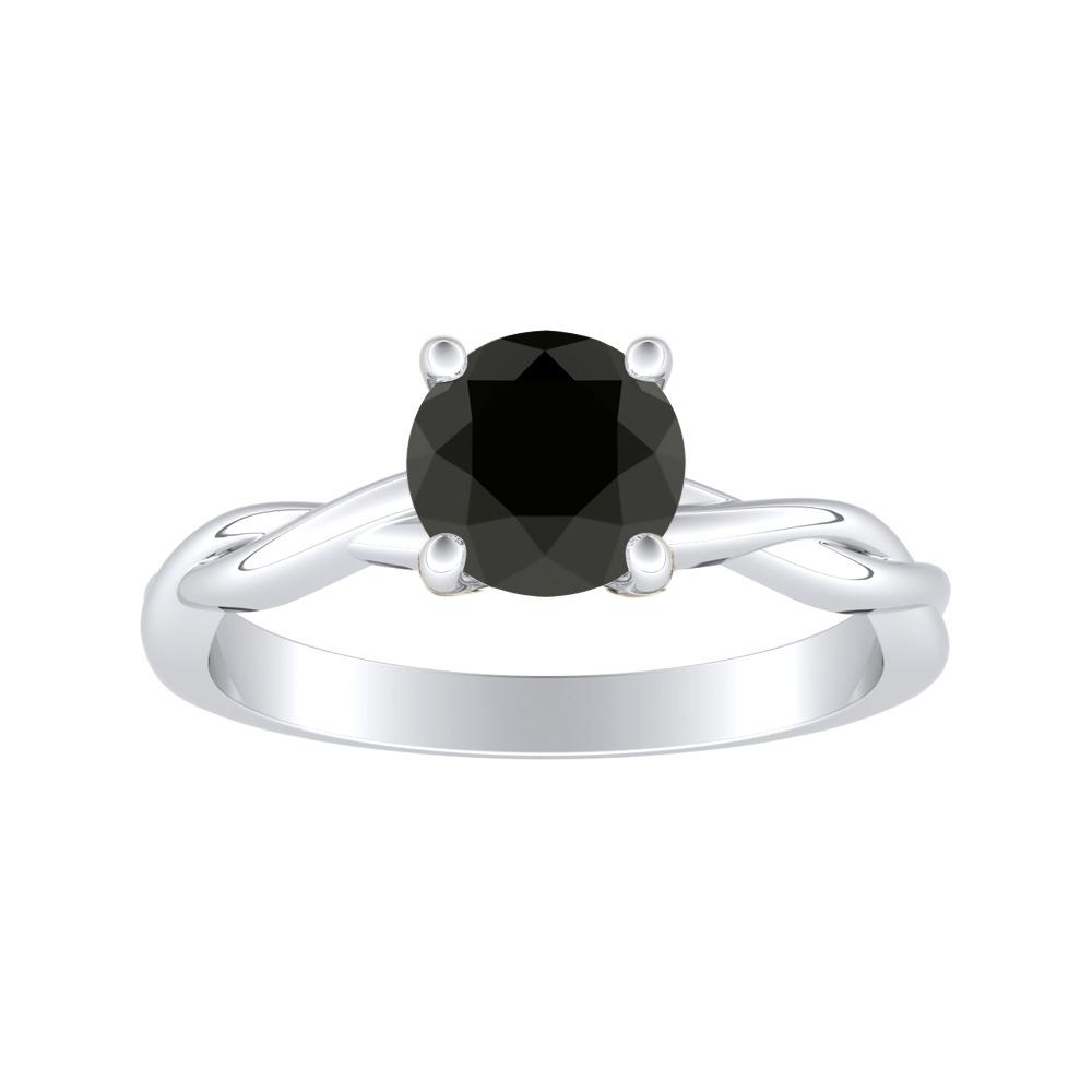 ELISE Twisted Solitaire Black Diamond Engagement Ring In 14K White Gold With 1.00 Carat Round Diamond
