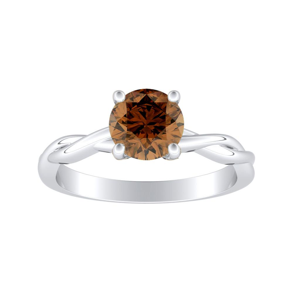 ELISE Twisted Solitaire Brown Diamond Engagement Ring In 14K White Gold With 0.50 Carat Round Diamond