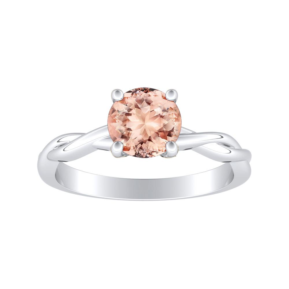 ELISE Twisted Solitaire Morganite Engagement Ring In 14K White Gold With 1.00 Carat Round Stone