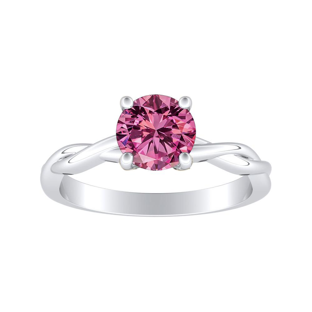 ELISE Twisted Solitaire Pink Sapphire Engagement Ring In 14K White Gold With 0.50 Carat Round Stone