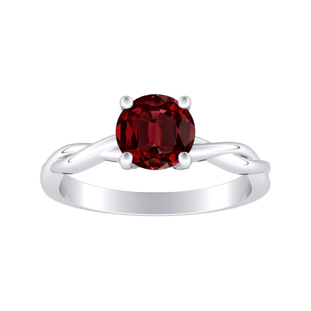 ELISE Twisted Solitaire Ruby Engagement Ring In Platinum With 0.50 Carat Round Stone
