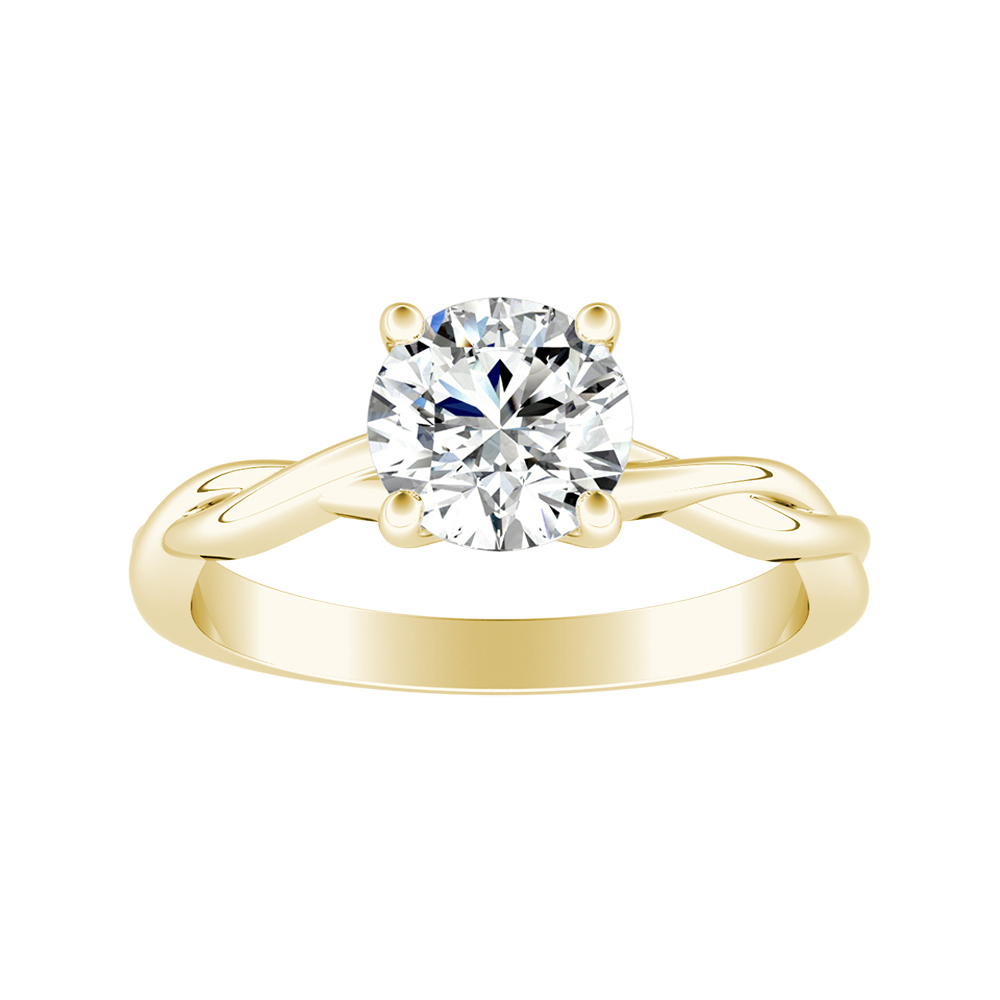 ELISE Twisted Solitaire Diamond Engagement Ring In 14K Yellow Gold