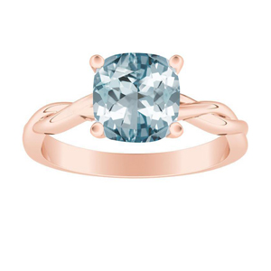 ELISE  Twisted  Solitaire  Aquamarine  Engagement  Ring  In  14K  Rose  Gold  With  1.00  Carat  Cushion  Stone