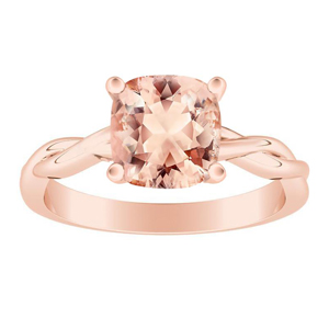 ELISE  Twisted  Solitaire  Morganite  Engagement  Ring  In  14K  Rose  Gold  With  1.00  Carat  Cushion  Stone