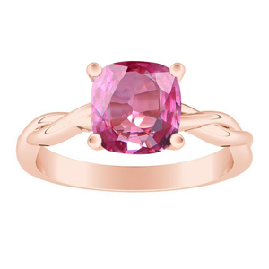 ELISE  Twisted  Solitaire  Pink  Sapphire  Engagement  Ring  In  14K  Rose  Gold  With  0.50  Carat  Cushion  Stone