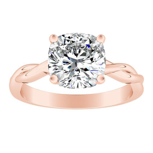 ELISE Twisted Solitaire Diamond Engagement Ring In 14K Rose Gold With 0.75ct. Cushion Diamond