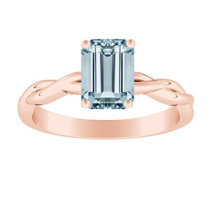 ELISE  Twisted  Solitaire  Aquamarine  Engagement  Ring  In  14K  Rose  Gold  With  1.00  Carat  Emerald  Stone