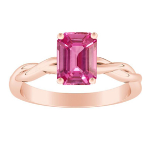 ELISE  Twisted  Solitaire  Pink  Sapphire  Engagement  Ring  In  14K  Rose  Gold  With  0.50  Carat  Emerald  Stone
