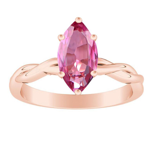 ELISE  Twisted  Solitaire  Pink  Sapphire  Engagement  Ring  In  14K  Rose  Gold  With  0.50  Carat  Marquise  Stone