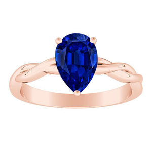 ELISE  Twisted  Solitaire  Blue  Sapphire  Engagement  Ring  In  14K  Rose  Gold  With  0.50  Carat  Pear  Stone