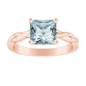 ELISE  Twisted  Solitaire  Aquamarine  Engagement  Ring  In  14K  Rose  Gold  With  1.00  Carat  Princess  Stone