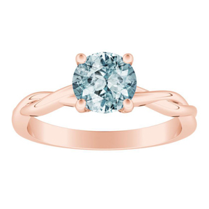 ELISE  Twisted  Solitaire  Aquamarine  Engagement  Ring  In  14K  Rose  Gold  With  1.00  Carat  Round  Stone