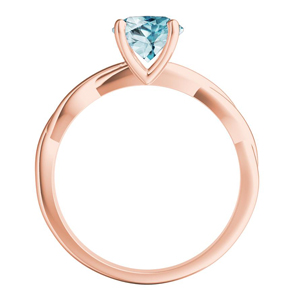 ELISE  Twisted  Solitaire  Aquamarine  Wedding  Ring  Set  In  14K  Rose  Gold  With  1.00  Carat  Round  Stone