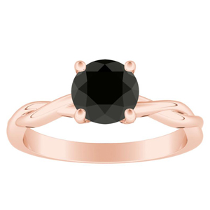 ELISE  Twisted  Solitaire  Black  Diamond  Engagement  Ring  In  14K  Rose  Gold  With  1.00  Carat  Round  Diamond