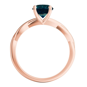 ELISE  Twisted  Solitaire  Blue  Diamond  Engagement  Ring  In  14K  Rose  Gold  With  0.50  Carat  Round  Diamond