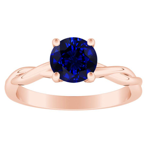 ELISE  Twisted  Solitaire  Blue  Sapphire  Engagement  Ring  In  14K  Rose  Gold  With  0.50  Carat  Round  Stone