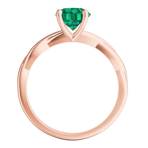 ELISE  Twisted  Solitaire  Green  Emerald  Engagement  Ring  In  14K  Rose  Gold  With  0.50  Carat  Emerald  Stone