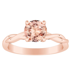 ELISE Twisted Solitaire Morganite Engagement Ring In 14K Rose Gold With 4.00 Carat Round Stone