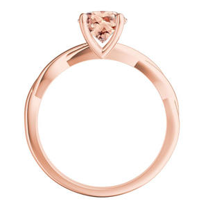 ELISE  Twisted  Solitaire  Morganite  Wedding  Ring  Set  In  14K  Rose  Gold  With  1.00  Carat  Emerald  Stone