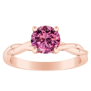 ELISE  Twisted  Solitaire  Pink  Sapphire  Engagement  Ring  In  14K  Rose  Gold  With  0.50  Carat  Round  Stone