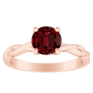 ELISE Twisted Solitaire Ruby Engagement Ring In 14K Rose Gold With 0.50 Carat Round Stone
